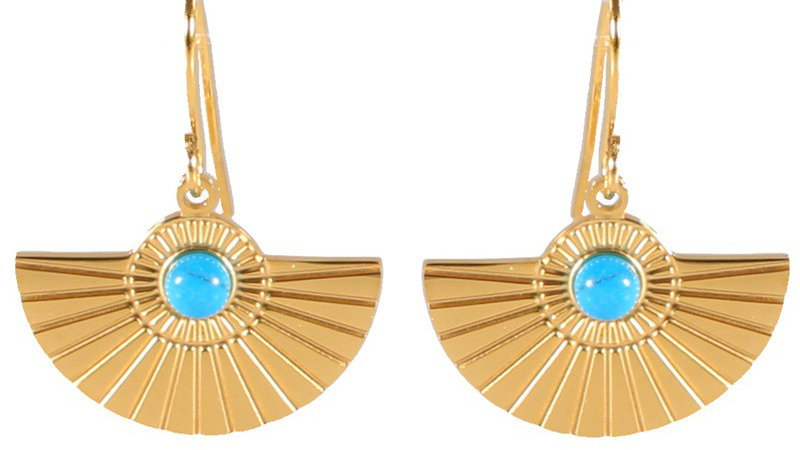 Boucles d'oreilles pendantes doré et pierres turquoise