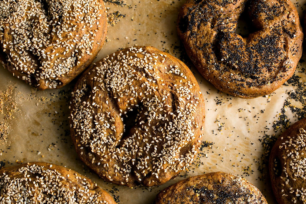 Sesame seed bagels fresh out of the oven.