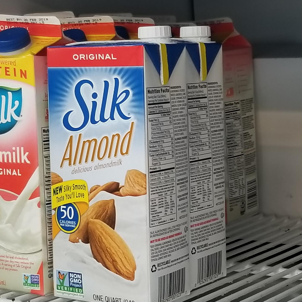 Soy and Almond silk milk in Cafe.