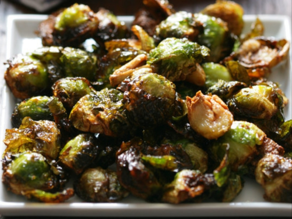 Roasted Brussel sprouts on a square plate