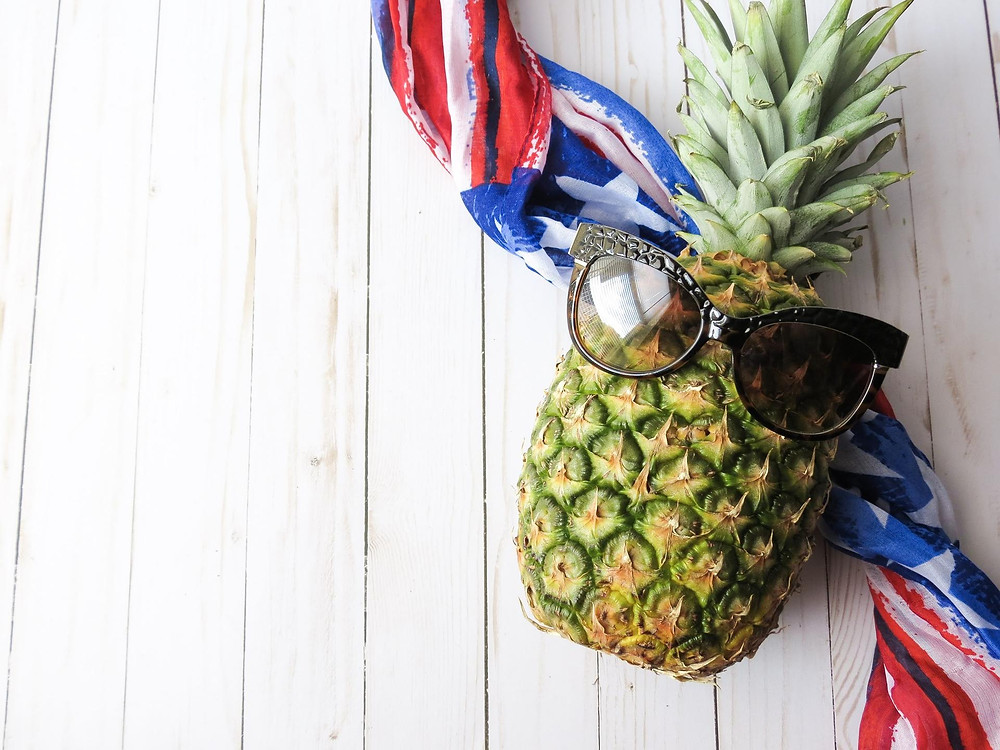 A pineapple with sunglasses.