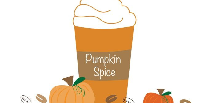 A cartoon image if a pumpkin spice latte.