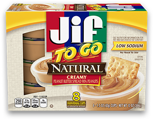 Jif to go natural creamy peanut butter containers.