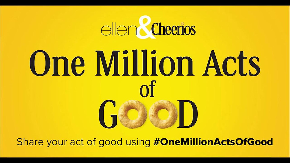 Ellen and Cheerios One Million Acts of Good logo.