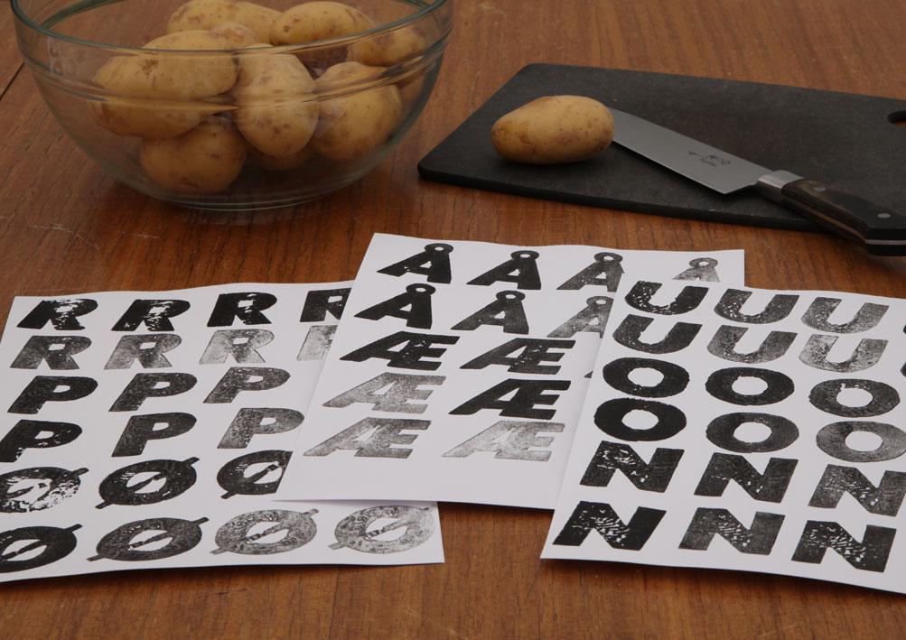 Hand stamped alphabet