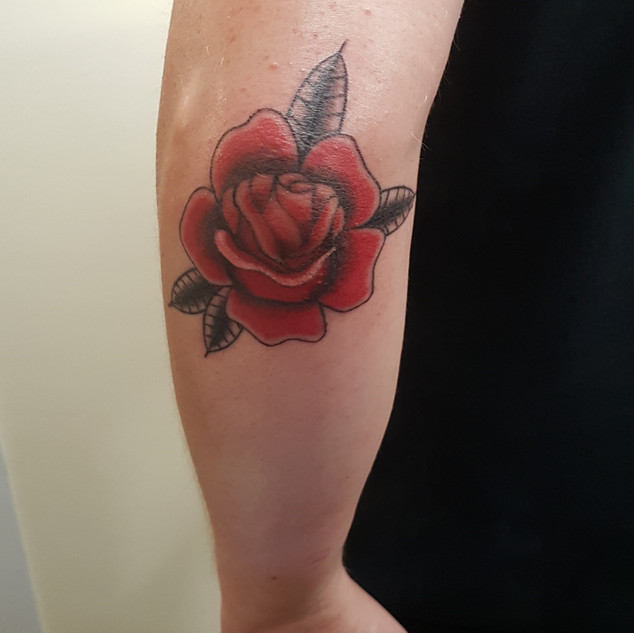 Hand Poked Traditional Style Rose Tattoo
