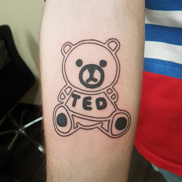 Hand Poked Teddy Fresh Logo Tattoo