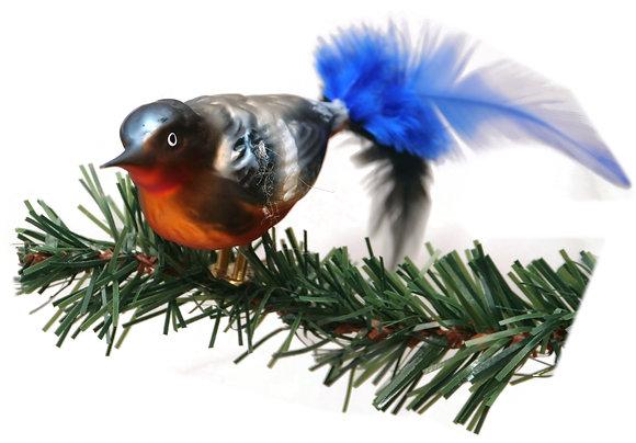 Vogel aus Glas -Südsee mit echten Federn -Länge 10 cm