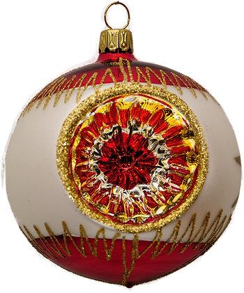 Glaskugel Reflex einfach rot-weis-gold und Goldglitter-  Kugel  ca. 8 cm Ø