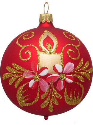 Glaskugel in  Mattrot u. Kerze und Blume und Goldglitter-  Kugel  ca. 6 cm Ø