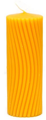 100% Bienenwachskerze  - Motiv Kerze Wellenmotiv - H 12,5 cm -ca. 4cm Ø