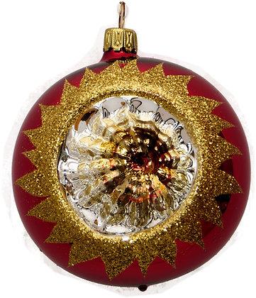 Glaskugel Reflex 1-fach Rot mit Gold und Goldglitter -   Kugel  ca. 8 cm Ø