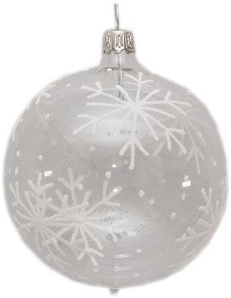 Glaskugel in klar mit Sternen -  Kugel  ca. 8 cm Ø