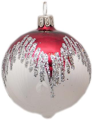 Glaskugel Eisweiß und rotem Dach und Silberglitter-  Kugel  ca. 6cm Ø