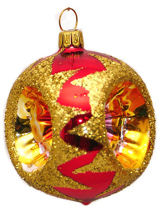 Glaskugel Reflex dreifach rot-gold Goldglitter-  Kugel  ca. 6 cm Ø