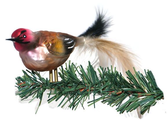 Vogel aus Glas -Rotkopfspecht mit echten Federn -Länge 11 cm