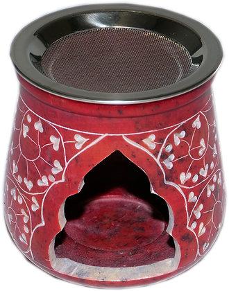 Weihrauchgefäß Steckstein, mit Sieb, rot, für Teelicht