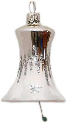 Glocke in Eisweis , Silberdach und Silbergitte -  Länge 8 cm