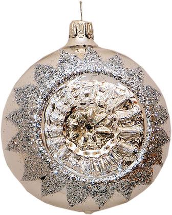 Glaskugel in Reflex einfach in Silber und Silberglitter-  Kugel  ca. 8 cm Ø