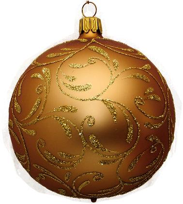 Glaskugel in Mattgold Barock und Goldglitter-  Kugel  ca. 10 cm Ø