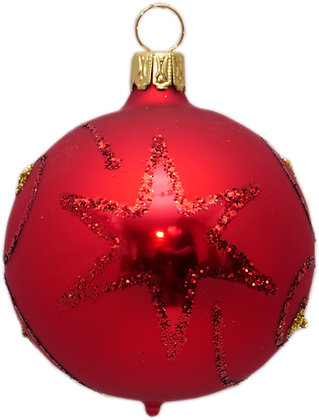 Glaskugel in Mattrot mit Stern rotem Glitter -  Kugel  ca. 8 cm Ø