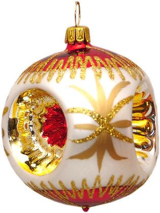 Glaskugel Reflex dreifach rot-weis-gold und Goldglitter-  Kugel  ca. 6 cm Ø