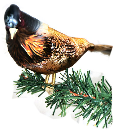 Vogel aus Glas -Jagdfasan mit echten Federn -Länge 11 cm