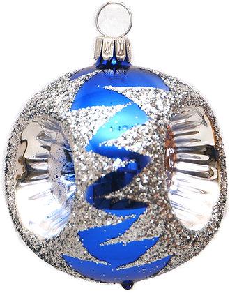 Glaskugel Reflex 3-fach blau-silber-  Kugel  ca. 6 cm Ø