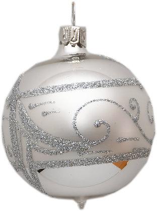 Glaskugel in Silber mit Band und Silberglitter-  Kugel  ca. 8 cm Ø
