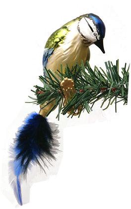 Vogel aus Glas - Blaumeise mit echten Federn -Länge 10 cm