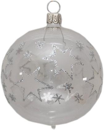 Glaskugel in klar mit Sternen -  Kugel  ca. 6 cm Ø