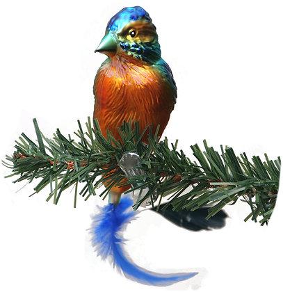Vogel aus Glas -Eisvogel mit echten Federn -Länge 12 cm