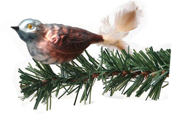 Vogel aus Glas -Kuckuck mit echten Federn -Länge 9 cm
