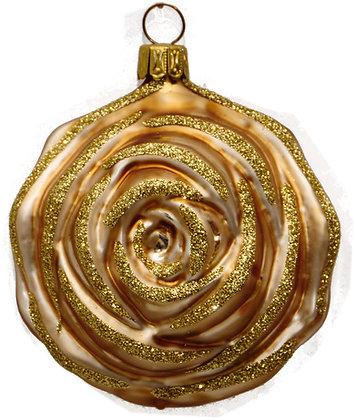 Glaskugel Rose in Gold  und Goldglitter-  Kugel  ca. 7 cm Ø