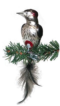 Vogel aus Glas -Buntsprecht mit echten Federn -Länge 11 cm