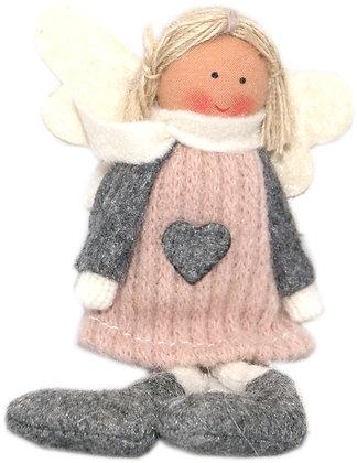 Wollengel - rosa -hgd 16 cm