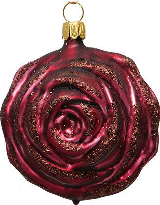 Rose in Purpur Barock und Pupurglitter -   ca. 8 cm Ø
