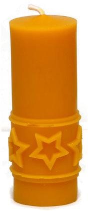100% Bienenwachskerze  - Stumpenkerze mit Sternen  - Höhe 12cm - ca. 4 cm Ø
