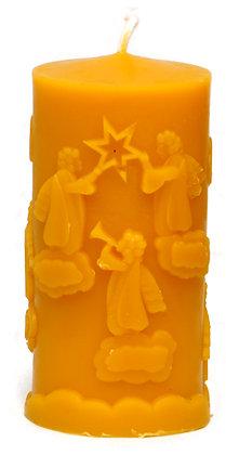 100% Bienenwachskerze  -Motiv Engel auf Wolken -H 12,5 - ca. 6 cm Ø