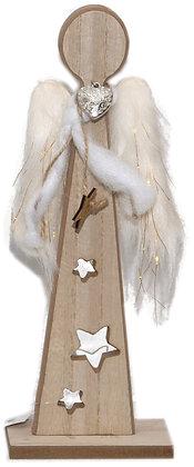 Holz-Engel stehend - naturweis Gold - Höhe 30 cm