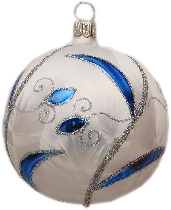 Glaskugel in Eisweis mit Blau und Silberglitter -  Kugel  ca. 8 cm Ø