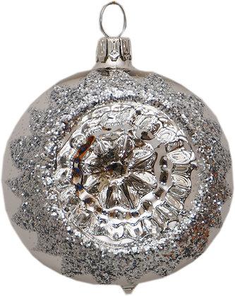 Glaskugel in Reflex einfach in Silber und Silberglitter-  Kugel  ca. 6 cm Ø