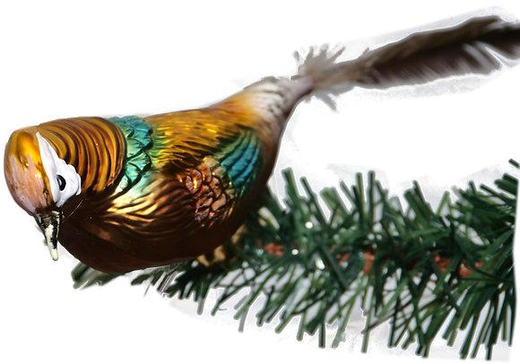 Vogel aus Glas -Goldfasan mit echten Federn -Länge 11 cm