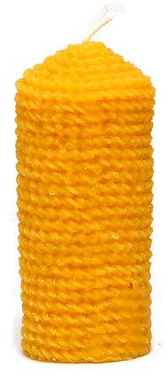 100% Bienenwachskerze  - Motiv Kordel - Höhe 13 cm - ca. 5 cm Ø