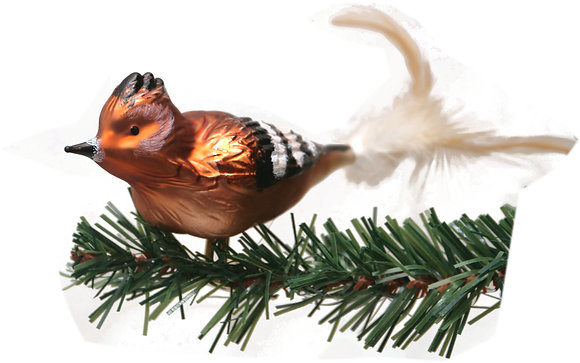 Vogel aus Glas -Wiedehopf mit echten Federn -Länge 10 cm