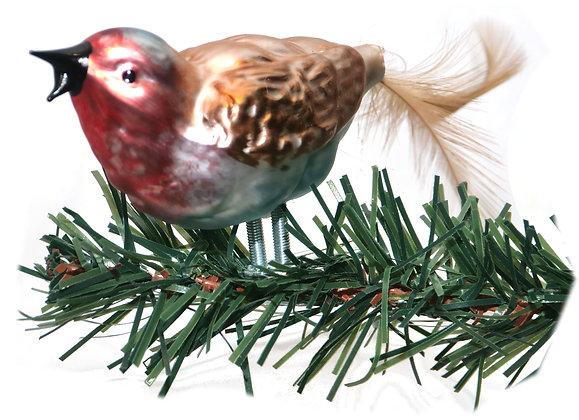 Vogel aus Glas -Spatz singend mit echten Federn -Länge 8 cm