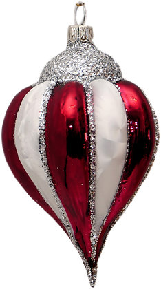 Rillenspitztropfen in Eisweiß und Rot Silberglitter - Länge 11cm