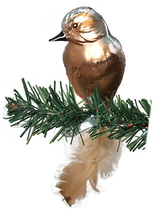 Vogel aus Glas -Buchfink mit echten Federn -Länge 10 cm