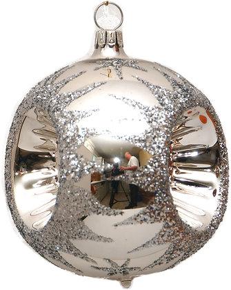 Glaskugel in Reflex dreifach in Silber und Silberglitter-  Kugel  ca. 6 cm Ø