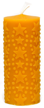 100% Bienenwachskerze  - Motiv Sterne - H 12 cm - ca. 5 cm Ø